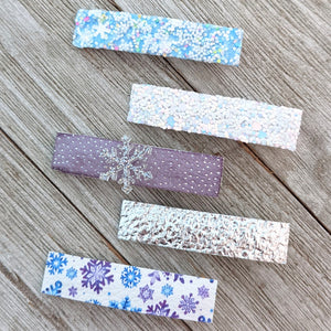 Lavender and Silver Snowflake Glitter Clippie Set