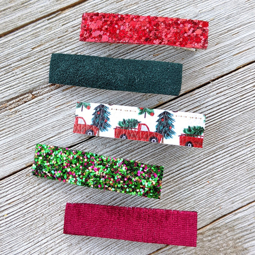 Christmas Tree Truck Glitter Clippie Set