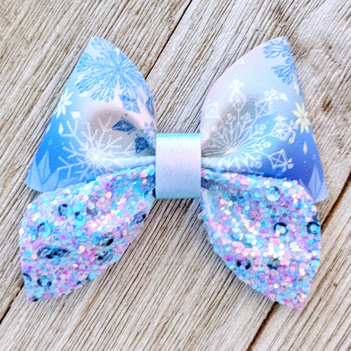 Blue Snowflake Glitter Sailor Bow 2.5 Inches