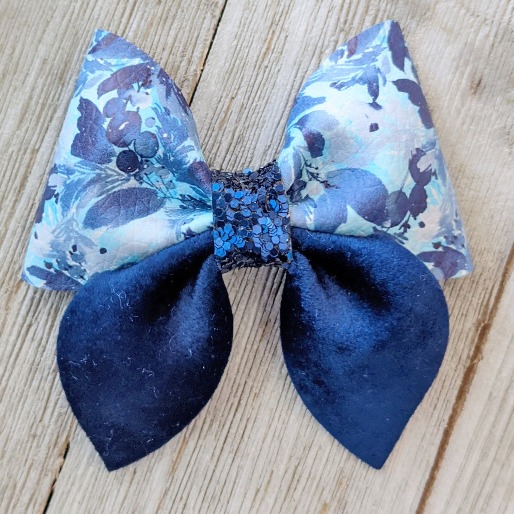 Navy Floral Glitter Sailor Bow 2.5 Inches