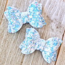 "Blue Snowflake Chunky Glitter Bow 2.5"" Bow"