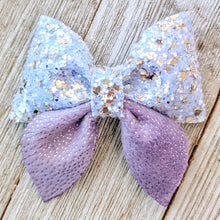 Lavender Glitter Sailor Bow 2.5 Inches