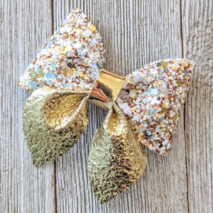 Gold Glitter Sailor Bow 2.5 Inches