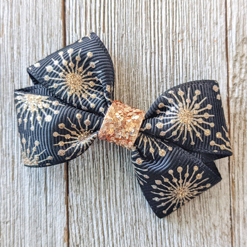 Black and Gold Ribbon Bow 2.5 Inches