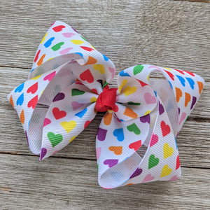 "4"" Rainbow Heart Ribbon Hair Bow"