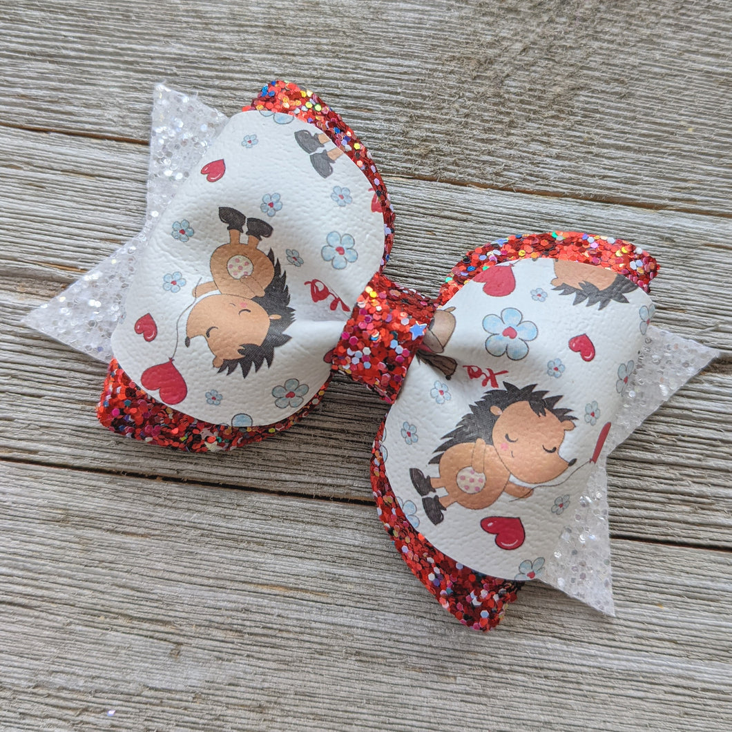 Hedge Hog Valentine Pinch Bow Pigtail Glitter Bow 4 Inches
