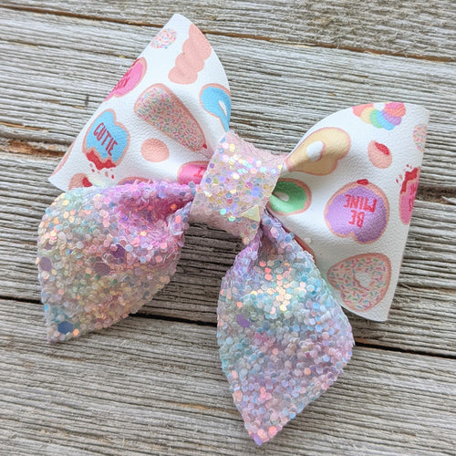 Conversation Heart Donut Glitter Sailor Bow 2.5 Inches