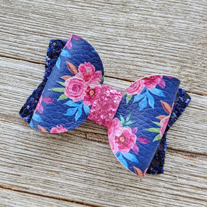 Mini Navy and Pink Floral Glitter Bow 2.5 Inches
