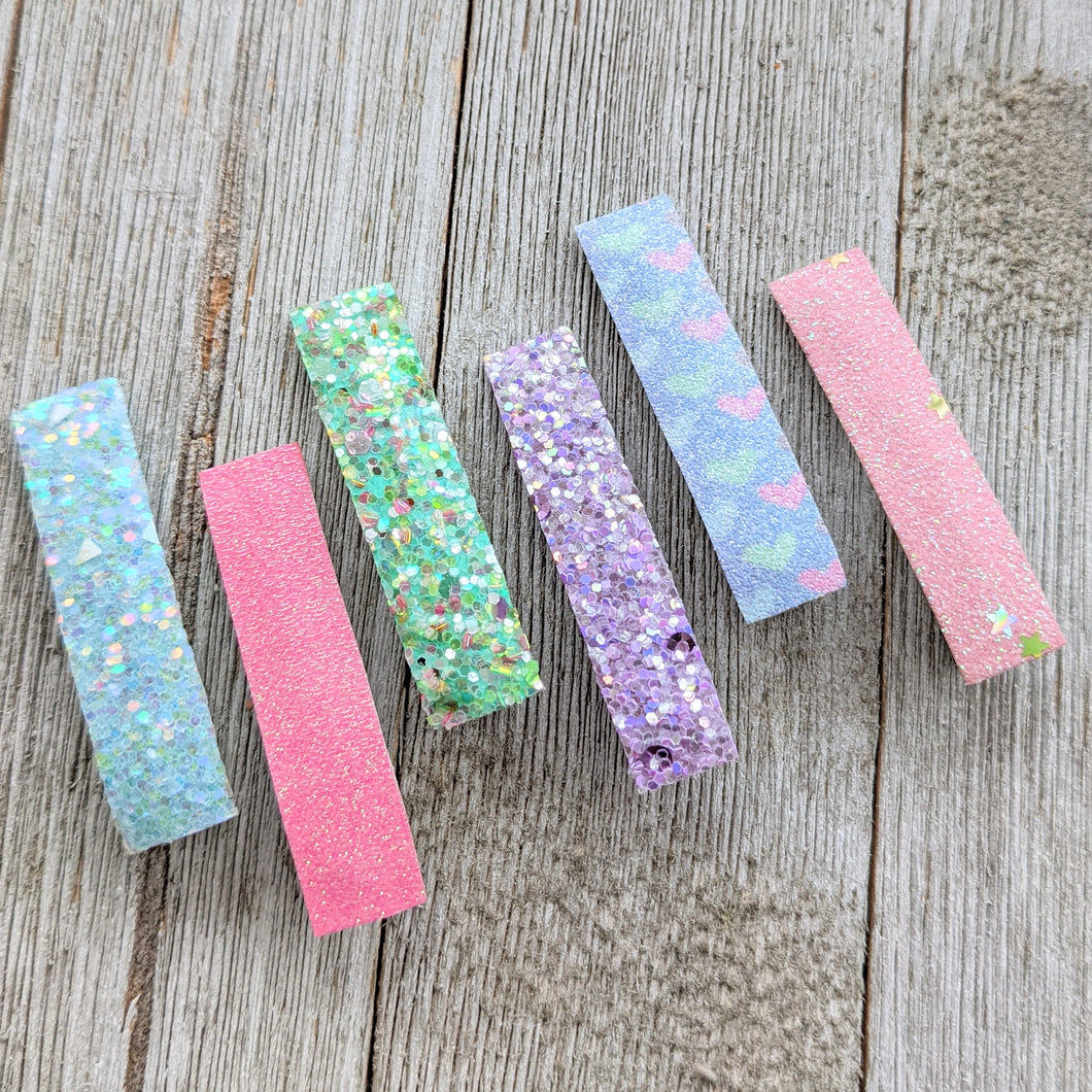Pastel Hearts Glitter Clippie Set