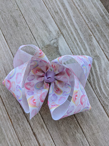 "6"" Watercolor Rainbow Ribbon Hair Bow"