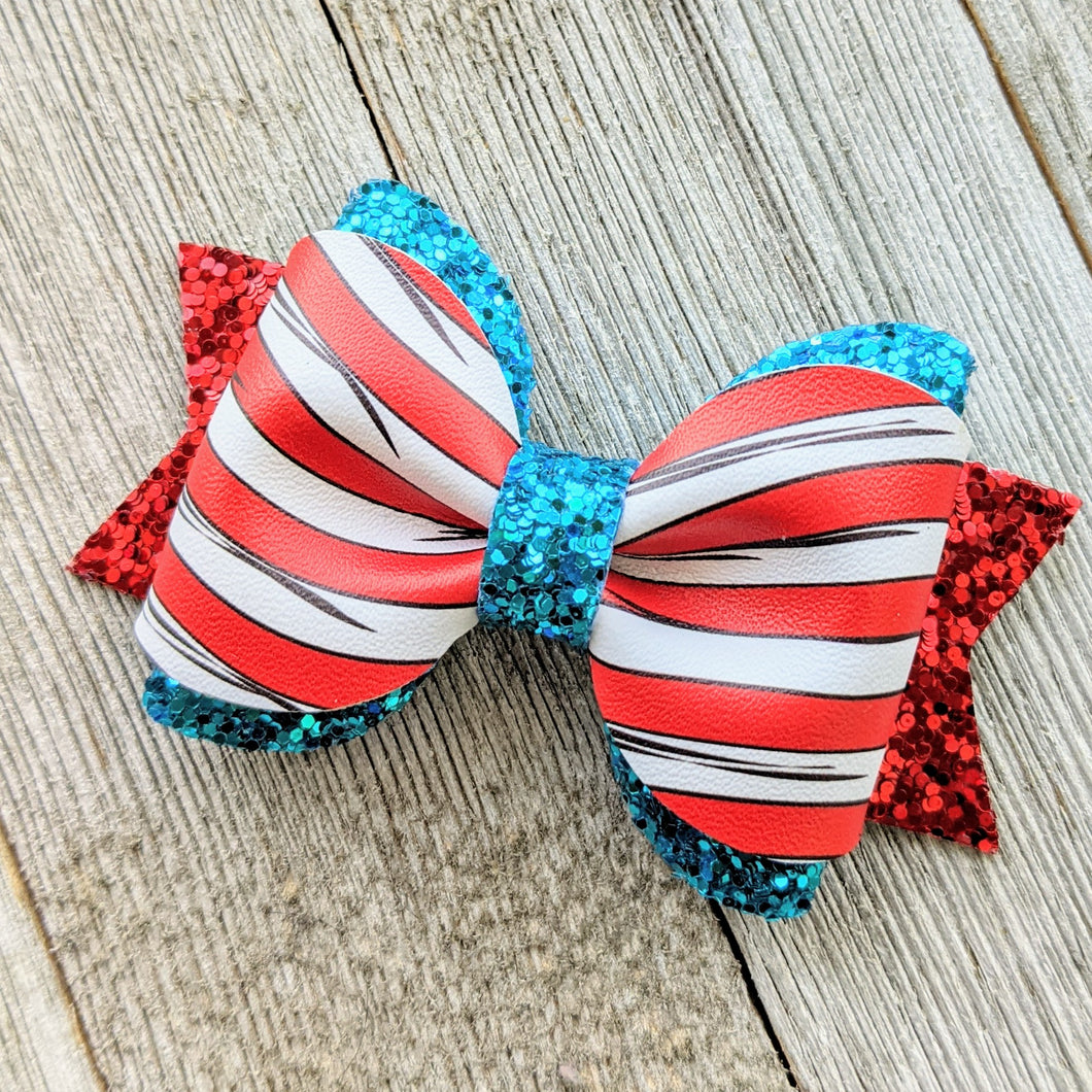 Cat in the Hat Faux Leather and Glitter Bow 3.5 Inches