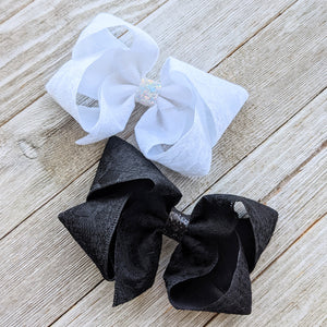 "4""Lace Ribbon Hair Bow - White or Black"