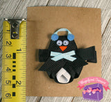 Penguin ribbon sculpture hair bow with earmuffs and scarf size