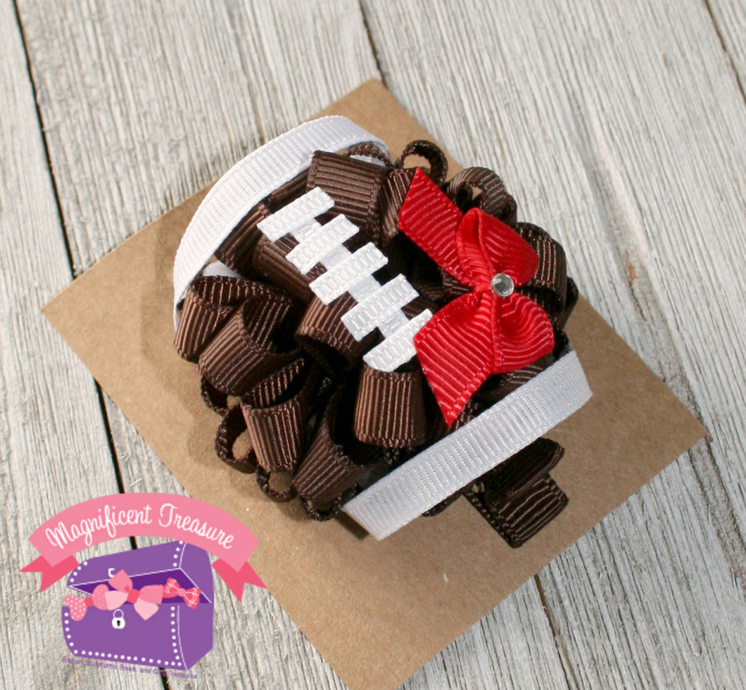 Regular Size Football Girls Hair Bow - You Choose Team Color - Puff Bow - Magnificent Treasures