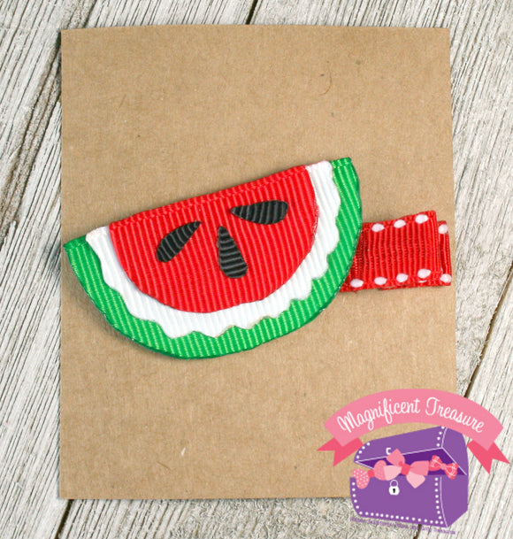 Watermelon Girl Summer Hair Bow or Pin Front View