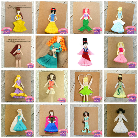 Princess Inspired Ribbon Sculptures Set of 16 Clips