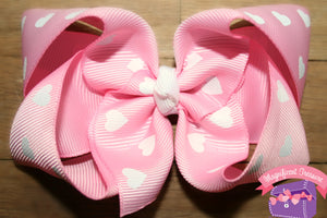 "Pink Valentine 4"" Heart Hair Bow"