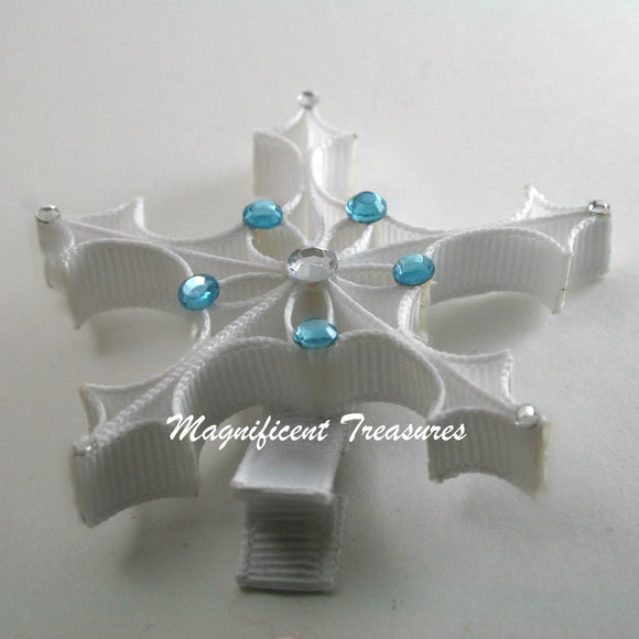 Snowflake Ribbon Sculpture Hair Clip or Pin