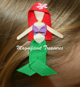 Little Mermaid Hair Bow - Ariel Hair Clip - Magnificent Treasures