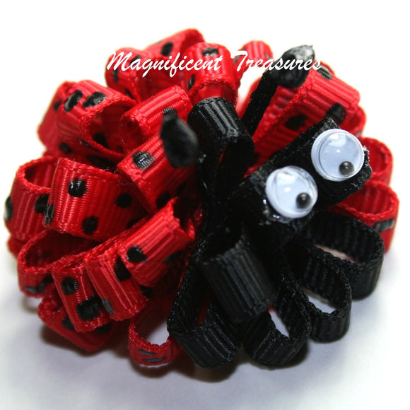 Itty Bitty Lady Bug Puff Bow on Skinny Elastic Headband or Hair Clip