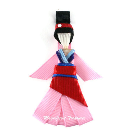 Mulan Inspired Ribbon Sculpture Hair Clip