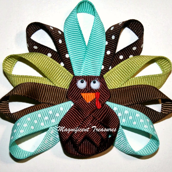Teal and Brown Turkey Ribbon Sculpture Hair Bow or Pin
