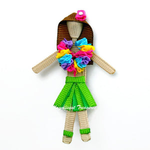 Hula Girl Ribbon Sculpture Hair Clip or Pin