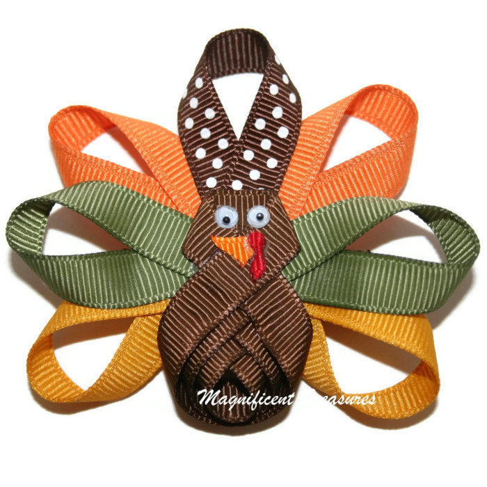 Fall Turkey Ribbon Sculpture Hair Clip or Pin - Magnificent Treasures