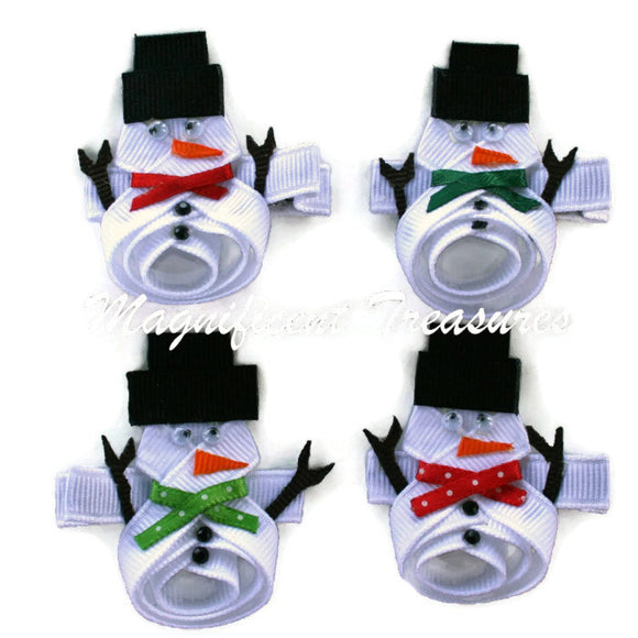 Snowman Ribbon Sculpture Hair Clip or Pin