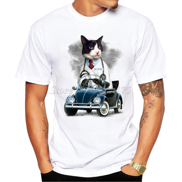 Cat driving Car Design Men's T Shirt