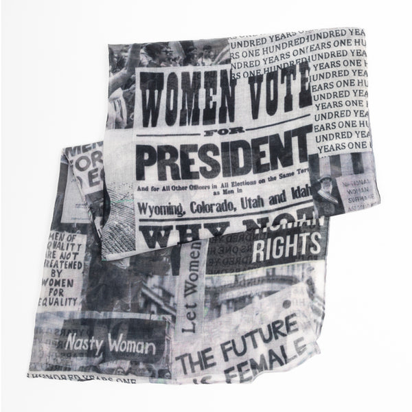Sylvester & Co. Modern General® | Coco & Maya Clippings 100 Years of Women's Rights Scarf | Hamptons Sag Harbor, NY | New York Women Owned Business