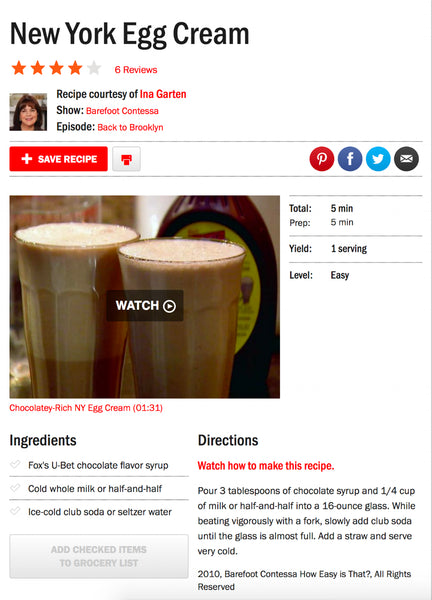 INA GARTEN CLASSIC NEW YORK EGG CREAM RECIPE