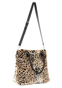 """Cheetah"" Faux Fur Commuter Tote Handbag"