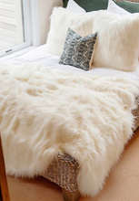 Ivory Faux Tibetan Lamb Throw
