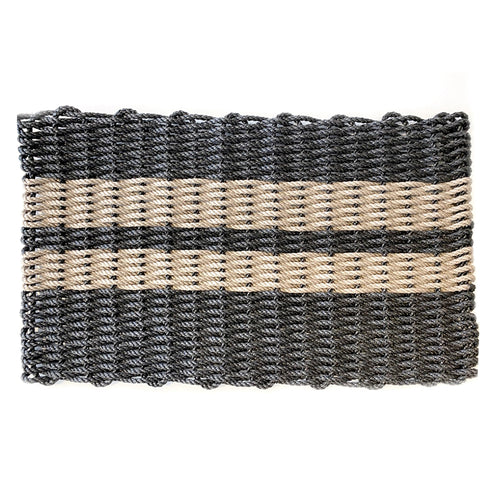 Recycled Rope Heavy Duty Doormat, Stripes Charcoal/Sand (Modern General® Exclusive)
