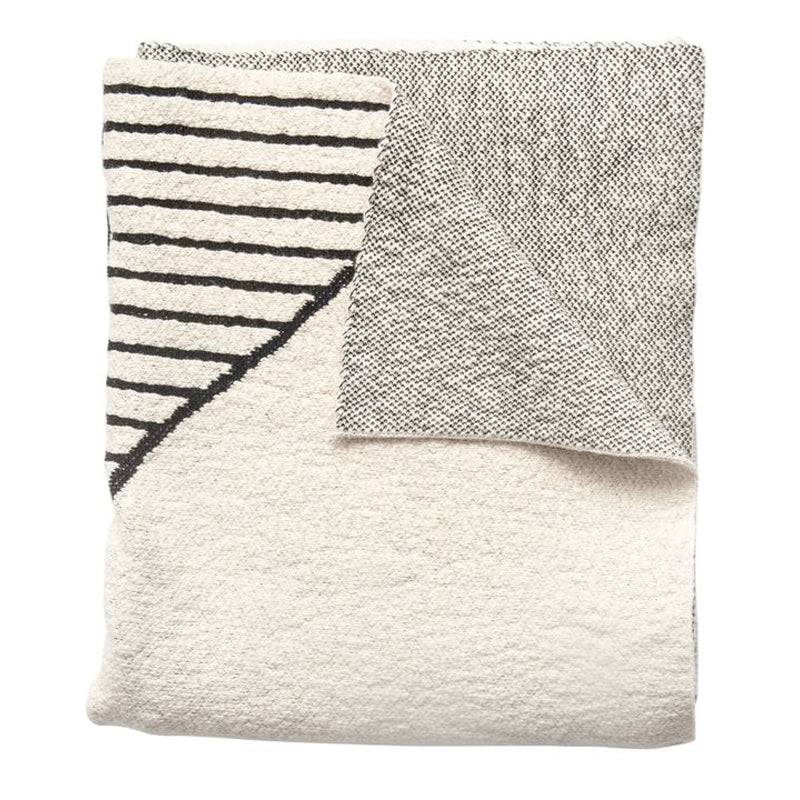 Black and Cream Cotton Knit Patterned Throw