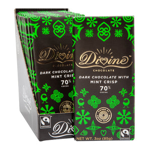 Divine Bar, Dark Chocolate with Mint Crisp 3oz.