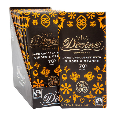 Divine Bar, 70% Dark Chocolate with Ginger & Orange 3oz.