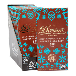 Divine Bar, Milk Chocolate with Toffee & Sea Salt 3oz.