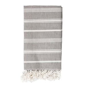 "Grey/White Cotton Throw, 80""x40"""