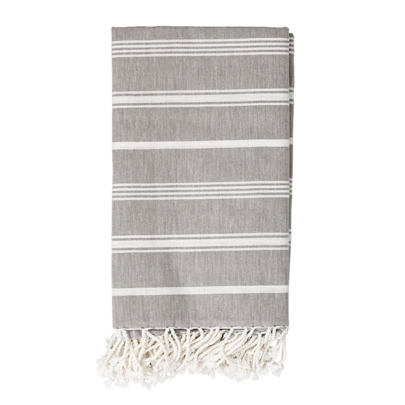 Grey/White Cotton Throw, 80