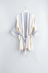 Hudson Short Robe, Blue Stripe
