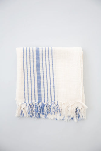 Hudson Turkish Towel, Blue Stripe