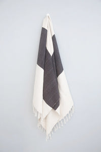 Kilim Throw or Rug, Black/Cream
