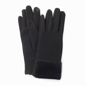 Faux Mink Trim Gloves