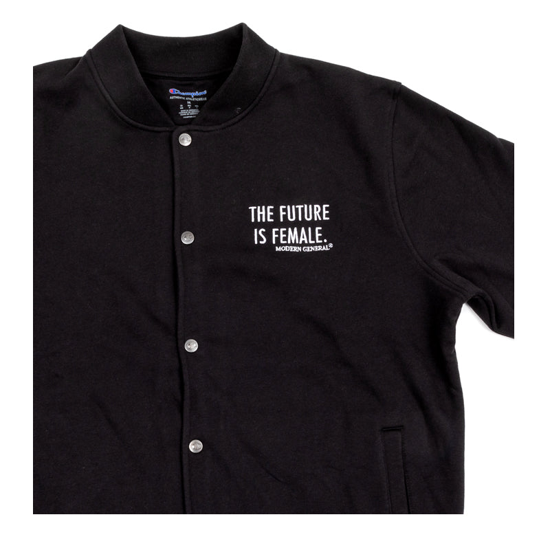 'The Future is Female' Embroidered Bomber Sweatshirt