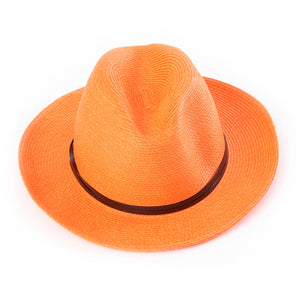 Fedora Hat, Orange w/Leather Band