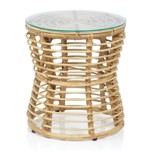 Adrina Woven Rattan Table With Glass Top