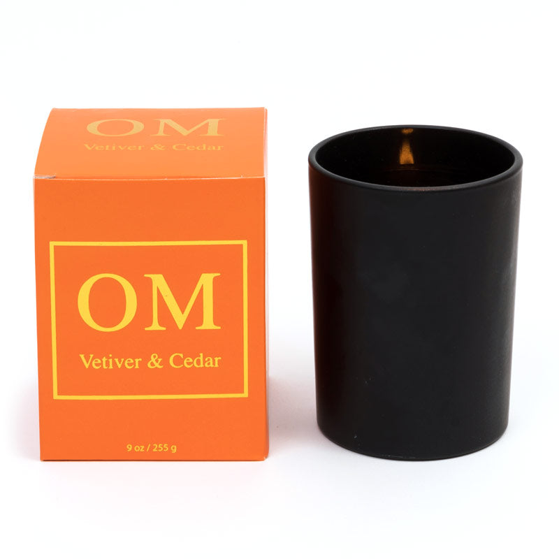 'OM' Vetiver & Cedar Essential Oil Soy Wax Candle