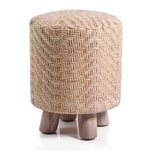Elia Rattan and Teakwood Stool